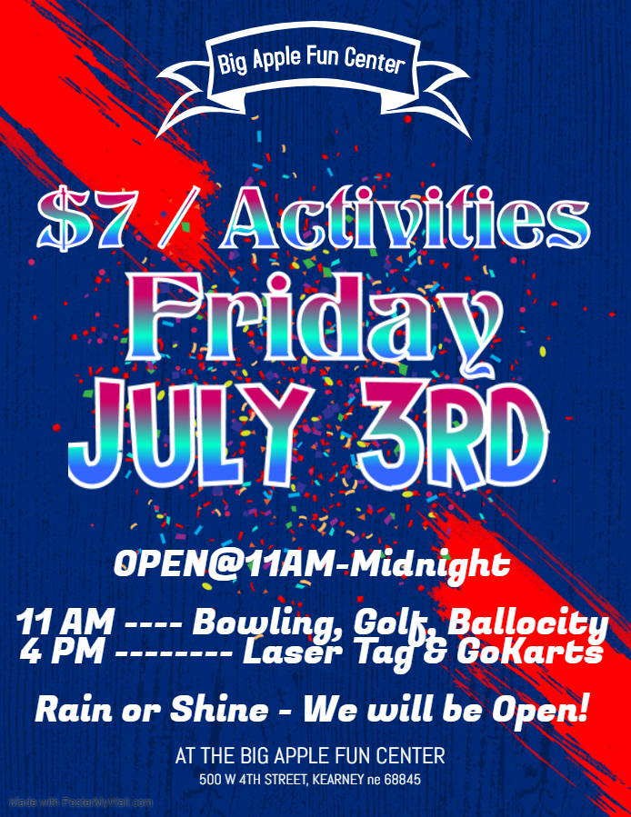 $7 Activities for July 3rd